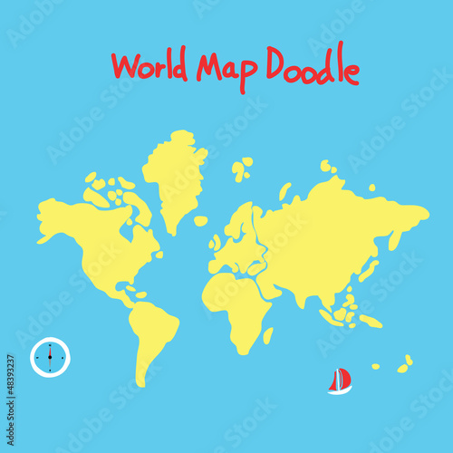 Spoed Foto op Canvas Wereldkaart world map doodle
