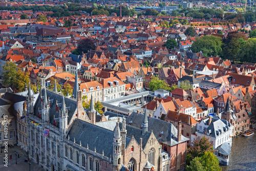 Wall Murals Bridges top view to Bruges, Belgium