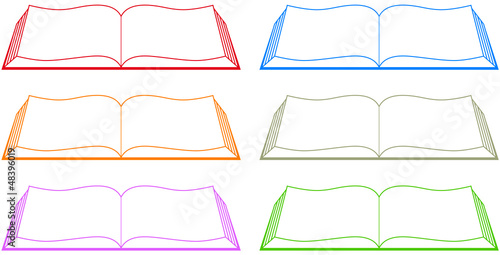 Photo set isolated colorful book silhouette