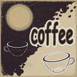 Vintage background with the image of cups and coffee beans. eps1