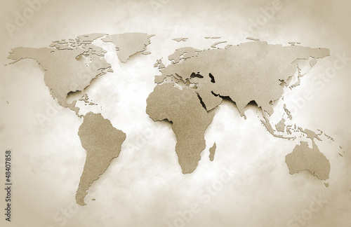 Spoed Foto op Canvas Wereldkaart World map vintage