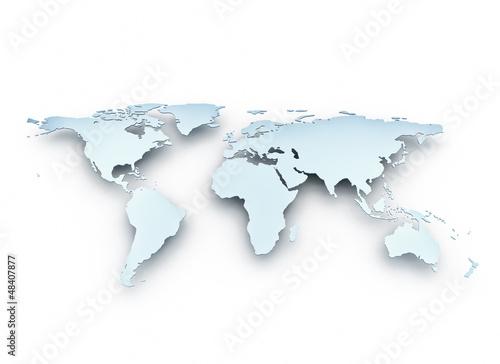 Recess Fitting World Map Metallic world map