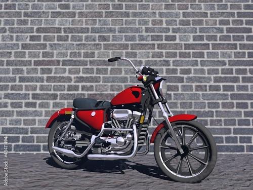 Keuken foto achterwand Rood, zwart, wit motorbike red