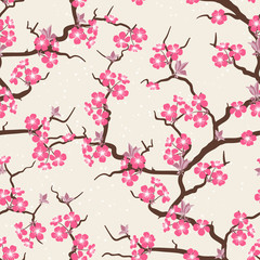 Tapeta Cherry blossom seamless flowers pattern.