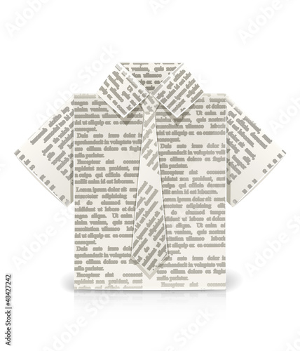 shirt origami toy vector illustration isolated on white