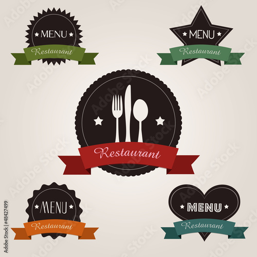 Valokuvatapetti Badges rétro et vintage : Restaurant/Menu
