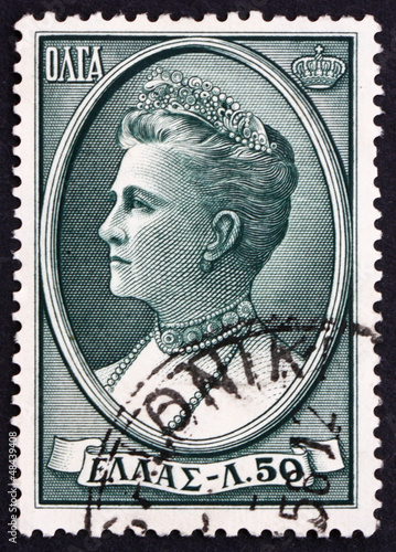 Postage stamp Greece 1956 Queen Olga of the Hellenes Canvas Print