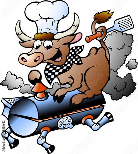 Aluminium Prints Wild West Vector illustration of an Chef Cow riding a BBQ barrel