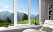 canvas print picture - fenster mit Alpenblick