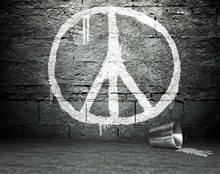 Graffiti Wall With Peace Sign, Street Background