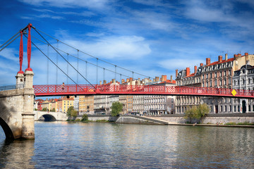 Panel Szklany View of red footbridge in Lyon