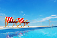 Swimming Pool With Beach Chairs