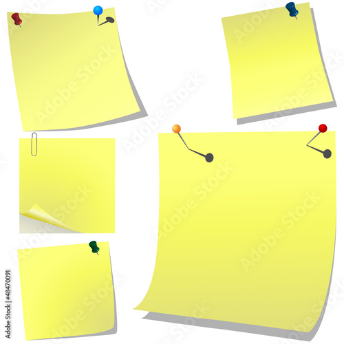 Fotografie, Obraz  Yellow pinned memo paper on white