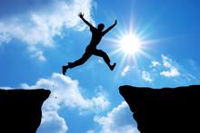 Man Jump Through The Gap.
