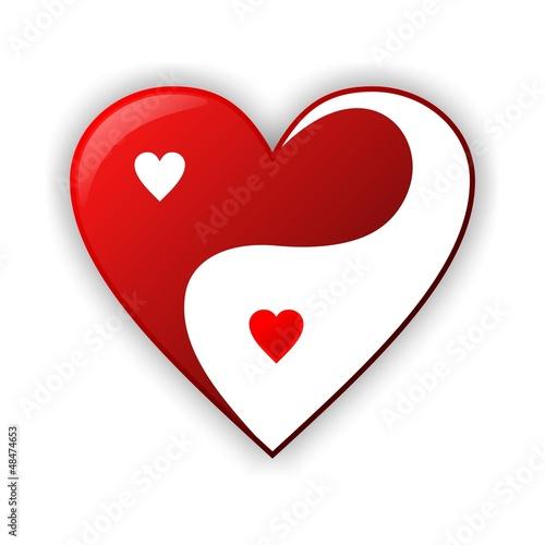 Photo  jing jang heart illustration design