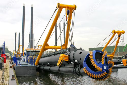 Fényképezés  New dredge ship in the Dutch shipyard