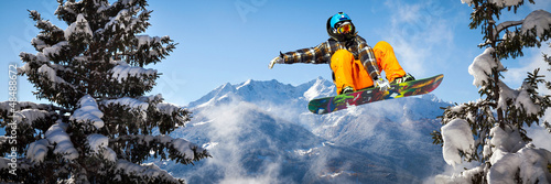 snowboarder in the trees Wallpaper Mural