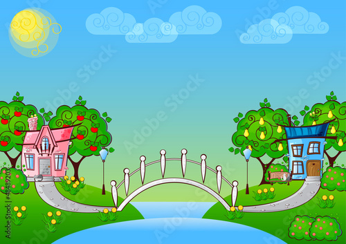 Canvas Prints River, lake background cartoon house