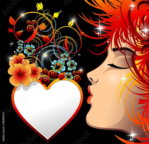 Foto op Canvas Bloemen vrouw Be my Valentine Love Heart-Cuore Decorativo con Bacio-Vector