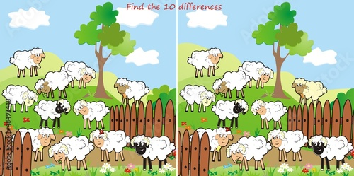 In de dag Boerderij sheep-find 10 differences