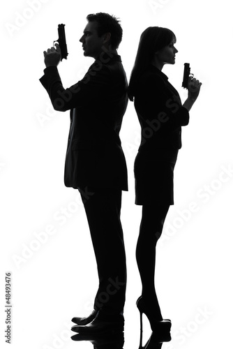 couple woman man detective secret agent criminal  silhouette Poster