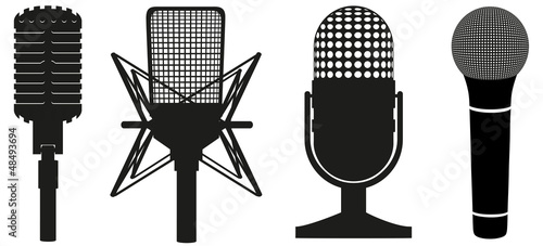 Canvas Print icon set of microphones black silhouette vector illustration