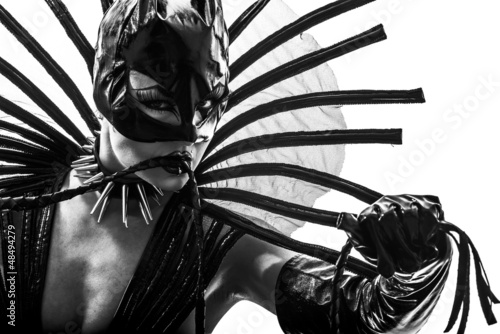 Fotografie, Obraz  woman in catwoman leather latex fetish wear  silhouette