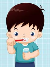 Illustration Of Boy Brushing His Teeth