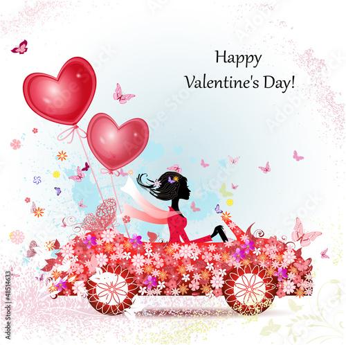 Fotobehang Bloemen vrouw girl in a car with valentines