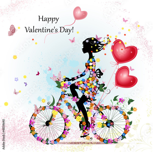 Foto op Canvas Bloemen vrouw Woman on bicycle with valentines