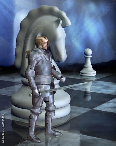 Spoed Foto op Canvas Ridders Chess Pieces - the White Knight