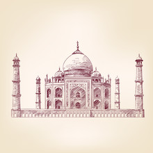 Taj Mahal, India Vector Illust...