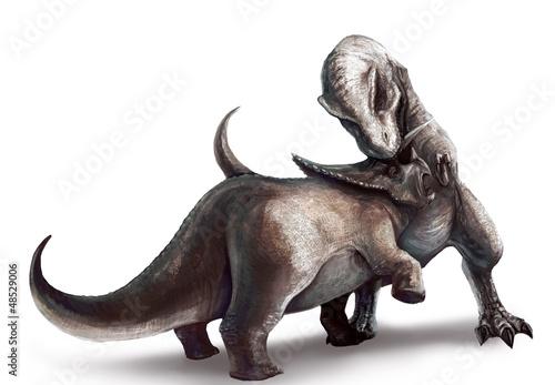 Photo  Tyrannosaurus is fighting Triceratops