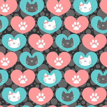 Romantic Seamless Pattern With Hearts And Kittens