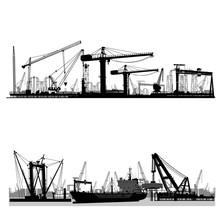 Shipyard, Harbor Skyline Vector Silhouette