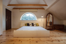 Cloudy Home - Bright Bedroom Interior In The Attic