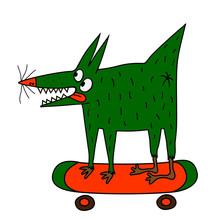 Strange Green Dog On The Skateboard