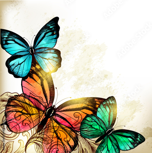 Poster de jardin Papillons dans Grunge Elegant Fashion background with butterflies