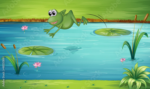 A frog jumping Tableau sur Toile