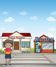 Kid, Police Station And Jewelry Store