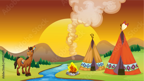Canvas Prints River, lake A camp fire and the sunset