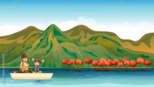 Aluminium Prints River, lake Two boys fishing