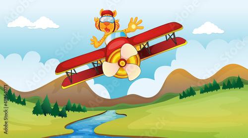 Papiers peints Avion, ballon A cat riding on a plane