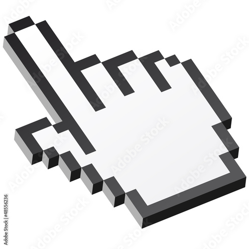 Photo sur Toile Pixel 3D Pixelgrafik Hand - Zeigefinger