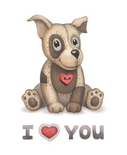 Cute Dog Toy Illustration. Perfect For Greeting Card
