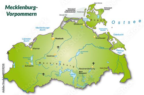 Landkarte Von Mecklenburg Vorpommern Als Inselkarte Buy This