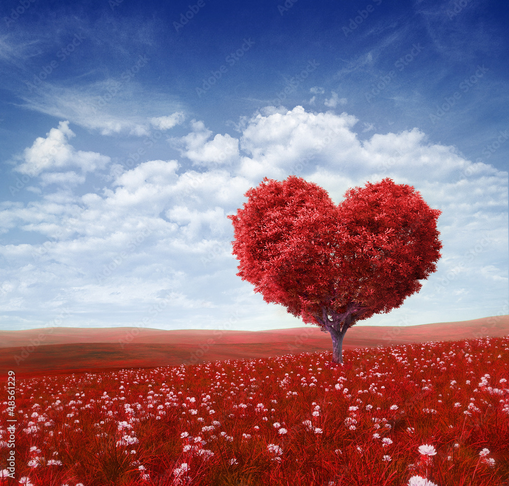 Fototapeta Tree in the shape of heart, valentines day background,