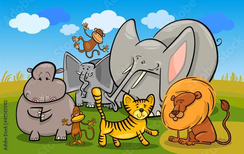 Foto op Aluminium Zoo african safari wild animals cartoon illustration