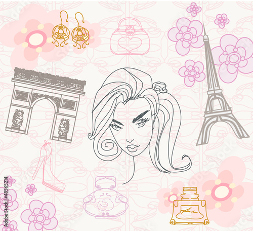 Cadres-photo bureau Doodle Paris seamless pattern