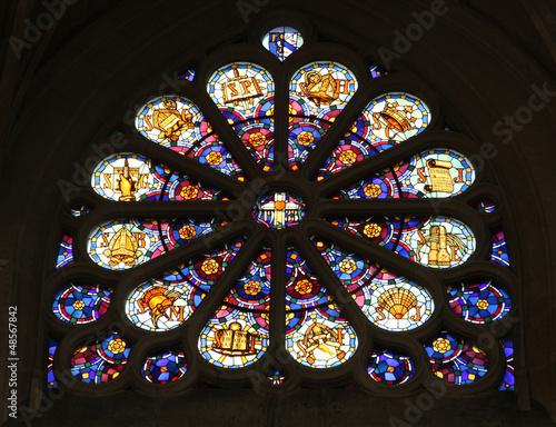 In de dag Stained Stained glass, Saint Etienne du Mont Church, Paris.